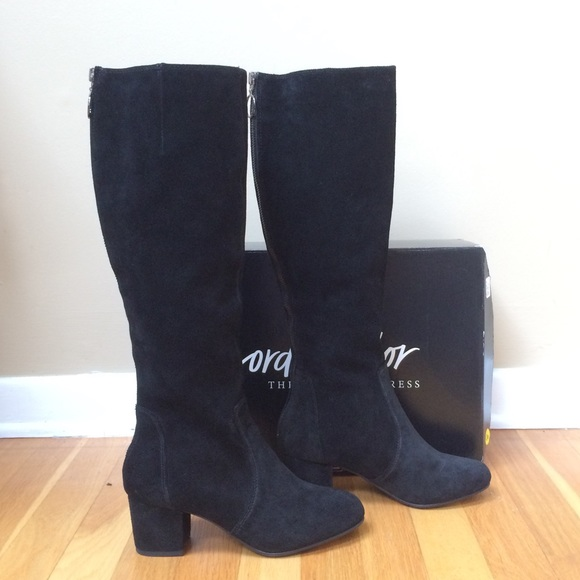 29abc50e8dc STEVE MADDEN Black Suede Rear Ring Zip Tall Boot